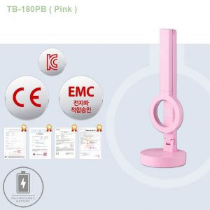 TB-180PB-Pink. Đèn bàn học màu Hồng, LED Hàn Quốc chống cận. Tích điện 100 giờ